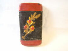 Vintage Folk Art Flowers Painted Match Safe Box Pocket Ashtray