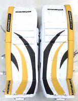 "New Powertek Barikad Goal goalie pads yellow/black 28"" leg Jr junior ice hockey"