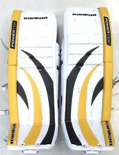 "New Powertek Barikad Goal goalie pads yellow/black 28"" leg Jr junior ice hockey"