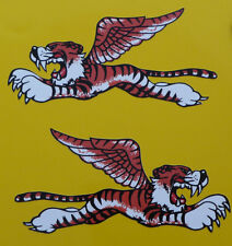 Winged Flying TIGER Car Bike STICKERS 100mm Handed Pair Triumph Sunbeam Leaping