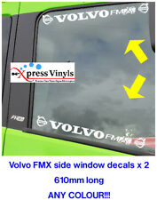 volvo decals x 2 FMX window graphic truck stickers. ANY COLOUR!!!