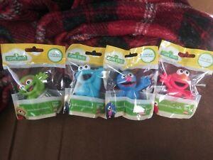 4x Sesame Street Friends Elmo Oscar Cookie Monster Cake Topper Figures Hasbro