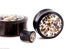 "PAIR-Wood Arang w/Shell Inlay Double Flare Plugs 30mm/1-3/16"" Big Gauge Body Jew"
