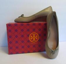 Tory Burch Chelsea Wedge Sandbox tan brown shoe 9 new logo leather bow 45 beige
