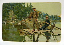 Vintage Early 1900's Post Card - Men Fishing From Raft - Artist Signed A.Bloch