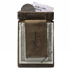 Men's Leather Slim Pocket Money Clip With Magnetic Card Cash Coin Wallet Gifts