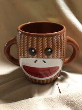 GALERIE SOCK MONKEY COFFEE CUP MUG DOUBLE HANDLE Dishwasher Microwave Safe