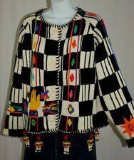 Michael Simon Black White Native Indian Navajo Beaded Doll Sweater One Size