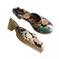 Missoni Mare Olana Floral Studded Wooden Clogs Size 6 Round Toe Colorful