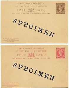 "ST. VINCENT 1894 Victoria, two very fine unused postal stationery ""SPECIMEN"" PCs"