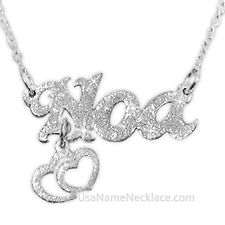 Custom Any Name Necklace STERLING SILVER Sparkling Name & Dangling Hearts