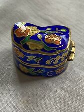 Vintage Asian Hinged Blue Multicolor Cloisonne Flower Pill Snuff Box