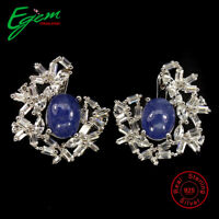 Unheated Oval Blue Tanzanite 9x7mm White Cz 925 sterling Silver Earrings