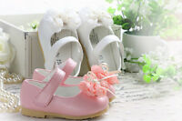 New Baby Girls Christening Shoes in White Pink 3-6 6-9 9-12 12-18 18-24 Months