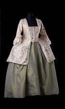 Delightful mid-18th outfit, sackback jacket, pet en l'air + petticoat&side hoops