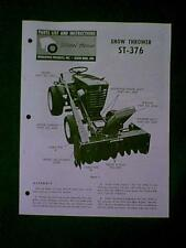 WHEEL HORSE TRACTOR SNOW THROWER ST 376 MANUAL