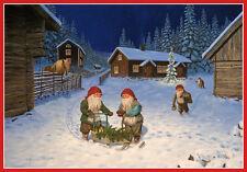 Scandinavian Swedish Christmas Poster Print Tomte Gnome Sled Bergerlind BO540