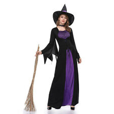 Wicked Witch Costume Long Dress w/ Hat Halloween Cosplay For Women Fancy Gothic