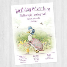 10 X PERSONALISED PETER RABBIT JEMIMA PUDDLE DUCK BIRTHDAY PARTY INVITATIONS