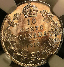 1910 CANADA SILVER 10 CENTS DIME COIN - NGC MS-63 - Very lustrous Uncirculated!