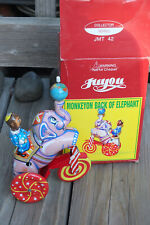 "Juyou ~ Monkeyon Elephant Vintage Litho 8"" Tin Toy Rare Jmt42 ~ Ships Free"