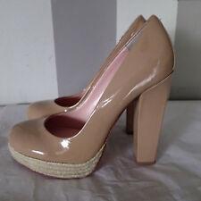 "BETSEY JOHNSON High Heel BLOCK 8.5 Shoes Patent Leather ""DARRLLA"" beige A1"