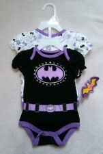 Baby Girls 0-3 Month Batman Tops, Outfits 2 Infant Bodysuits DC Comics Superhero