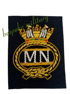 Merchant Navy (MN) Blazer Badge Embroidered (Bullion wire) High Quality
