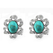 Vintage Flower Circle Turquoise with Rhinestones Studs Earrings E693