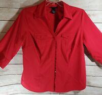Lane Bryant 3/4 Sleeve Button Down V-neck Shirt  Sz 14/16 Red