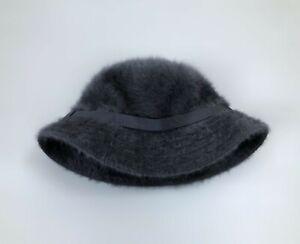 Rare Vintage Women's KANGOL Fluffy Angora Bucket Hat Gray Size S Made In England