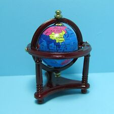 Dollhouse Miniature World Globe in Floor Stand in Mahogany ~ T3332