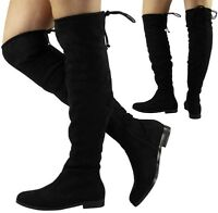 WOMENS LADIES THIGH HIGH BOOTS OVER THE KNEE PARTY STRETCH LOW HEEL SHOES SIZE