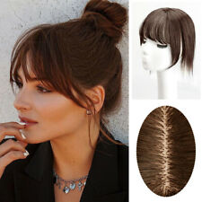 Women Straight 100% Human Hair Clip in Top Toupee Hairpiece With Air Bang 8*12cm