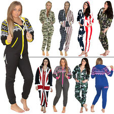 Womens Mens Adult Ladies Jumpsuit All In One Fleece Aztec Camo Camouflage USA XL