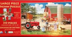 """""""Lunchtime on the Farm""""  30 pc Puzzle 10x16 Barn, Tractor, Farmer Work Complete"""