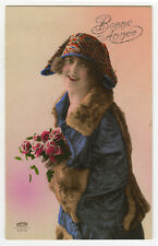 1920s Vintage Glamour Glamor SMILING FASHION BEAUTY tinted French photo postcard