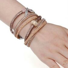 Ladies Bohemian-Style Braided Multilayer Leather Crystal Bead Charm Bracelet