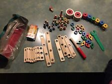 VINTAGE BAUFIX 74 PIECE WOOD BUILDER SET...KIT...6 WHEELS...TOOLS...OTHER PIECES