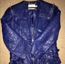 Karen Millen Leather Jacket Clary Fray Blue Detachable Sleeves Limited Addition
