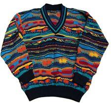 VTG Coogi Australia large sweater 100% wool knit orange green blue v neck stripe