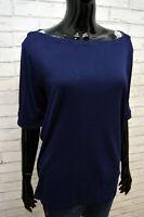 Blusa Maglia Blu Donna RALPH LAUREN Taglia XL Polo Shirt Women's Jersey Frau