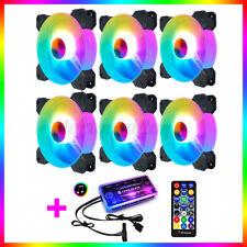 6pcs AURA SYNC Quiet RGB LED Computer PC Case Cooling Fan + Music Remote