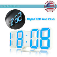 LED USB Digital 3D Wall Clock Home Snooze 12/24H Memory Night Light Desk Alarm