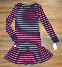 Ralph Lauren Girls Jersey Dress Navy Pink Striped  Long Sl. 8 - 10 years BNWT