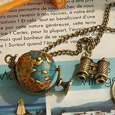 Jewelry Long Charm Globe Telescope Celebrity Bronze Pendant Necklace Chain gift