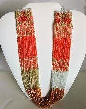 Pakija Beaded Necklace Coral & Tan Hand Made by Artisans Fair Trade