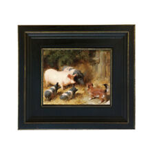 Framed Pigs and Dogs Oil Painting Print on Canvas Wall Art Home Farmhouse Decor