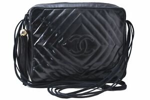 Authentic CHANEL Enamel CC Logo Tassel Shoulder Cross Body Black C5276