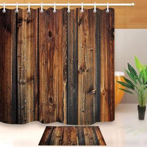 Brown Rustic Wood Board Shower Curtain Liner Bathroom Waterproof Fabric Hooks